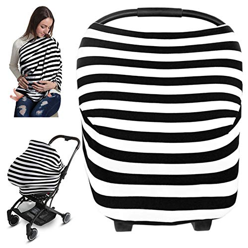 Car Seat Covers for Babies, Nursing Cover Breastfeeding Ups, Infant Car Seat Cover, Soft Breathable Stretchy Carseat Canopy Cover for Baby Boy & Girl Shower Gifts (Black Stripe)