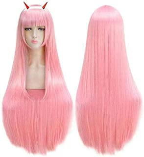 Darling in The FRANXX Cosplay Wig Zero Two Halloween Costumes Hair with Headband