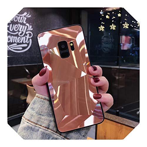 Para Samsung Galaxy J3 J5 J7 A5 2017 2016 J4 J6 A6 A8 S8 S9 S10 Plus S10E A9 A7 2018 Note 8 9 3D Diamante Brillante Espejo Rosa Caso