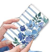 [bodenbaum] BASIO4 KYV47 手帳型 スマホケース カード スマホ ケース カバー ケータイ 携帯 KYOCERA 京セラ ベイシオ4 au 水彩 手書き風 ボーダー 花柄 f-240 (B.ブルー)