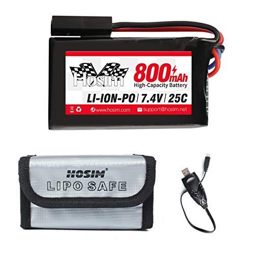 Nueva versión Hosim 7.4V 800mAh RC Recargable Li-Po batería 30-DJ03 y 1...