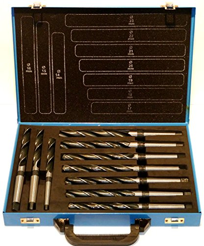 PeTools, Spiralbohrer 10 tlg. HSS Konus-Bohrer, Stahlbohrer 14-23mm, Morsekegel MK MK1, MK2, DIN345