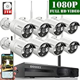 【2020 Update】 OOSSXX 8-Channel HD 1080P Wireless Security Camera System,8Pcs 1080P 2.0 Megapixel Wireless Indoor/Outdoor IR Bullet IP Cameras,P2P,App, HDMI Cord & 2TB HDD Pre-Install
