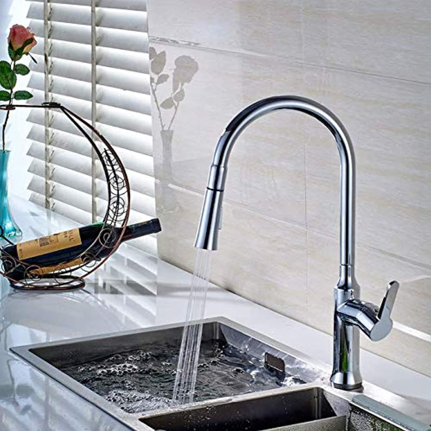Decorry Contemporary Kitchen Faucet Copper Chrome redary Single Handle Single Hole Pulling Torneira Spring Kitchen Sink Tap