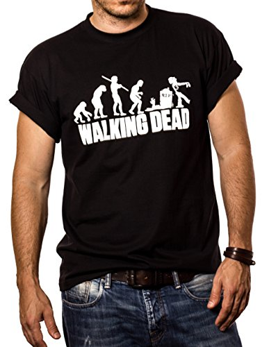 MAKAYA Zombie Evolution - Maglietta Walking Dead - T-Shirt Uomo Nera