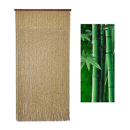 Natural Bambú Cortina De Puerta, Cortina De Cuentas De Madera De Cadena,...