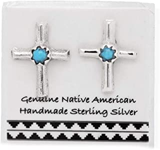 Genuine Sleeping Beauty Turquoise Cross Stud Earrings in 925 Sterling Silver, Nickle Free, Baptism, Christian Religious Gift