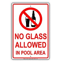 """No Glass Allowed in Pool Area Recreation安全抵抗アラート警告警告警告 アルミメタルブリキ看板プレート 18""""x24"""" ホワイト"""