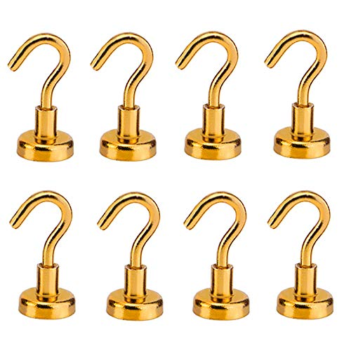 8 Stück Magnetische Haken 8,2 kg Super Saugkraft Starker Magnet Neodym Hängend Mächtig für Türen, Schränke, Decken, Armaturen, industrielle Befestigungen (Gold)