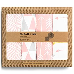 BaeBae Goods Muslin Swaddle Blanket, Pink/Grey Triangles, Adjustable Infant Baby Wrap Set of 4, Baby Swaddling Wrap Blankets Made in Soft Cotton