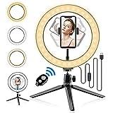 Abafia Anillo de Luz LED, Anillo de Luz con Trípode, Anillo de Control Remoto Bluetooth Luz de Selfie 10', 3 Modos 10 Brillos Regulables, Adecuado Maquillaje, Selfie, Transmisión en Vivo, Youtub