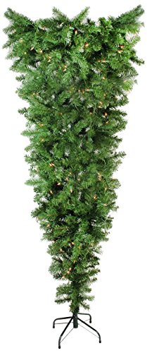Northlight 5.5' x 38' Pre-Lit Upside Down Spruce Artificial Christmas Tree - Clear Dura Lights