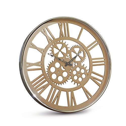 Loberon Uhr Menat, Stahl, Zinn, Glas, H/Ø ca. 5.5/61 cm, Silber