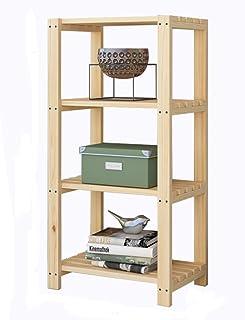 Étagère Étagère en bambou naturel épaissi, bibliothèque avec étagère Organisateur de rangement au sol MULTI-USAGE for disq...