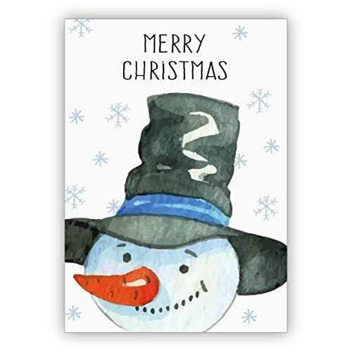 4 Stück im Set: Niedliche gemalte Weihnachtskarte mit Umschlag mit fröhlichem Schneemann: Merry Christmas • weihnachtliches Grußkarten Set mit Umschlägen zum Fest der Liebe