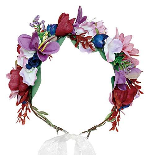 WDFVGEE - Diadema para adultos y niños, diseño vintage de flores de colores y corona ajustable, para novia, fiesta, decoración de pared