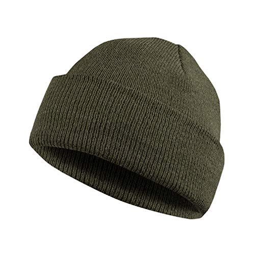 MERIWOOL Beanie Hat for Men n Women Merino Wool Ribbed Cuff Knit Beanie Hat Army Green