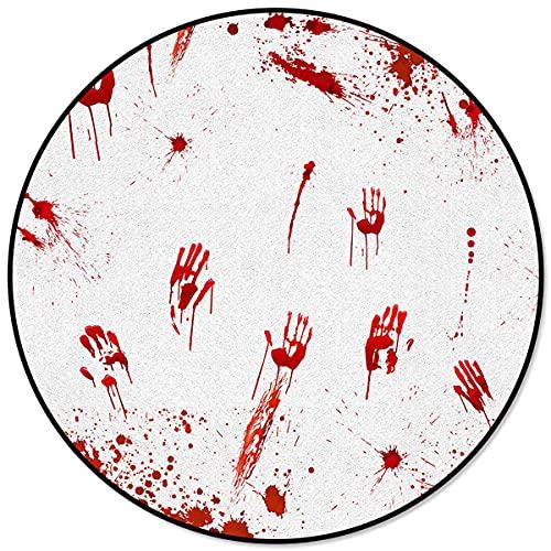 Halloween Themen Blutflecken Muster Runder Kinderbereich Teppich Bodenmatte Wohnzimmer Schlafzimmer Teppich Teppich Couchtischmatte Diameter 120cm