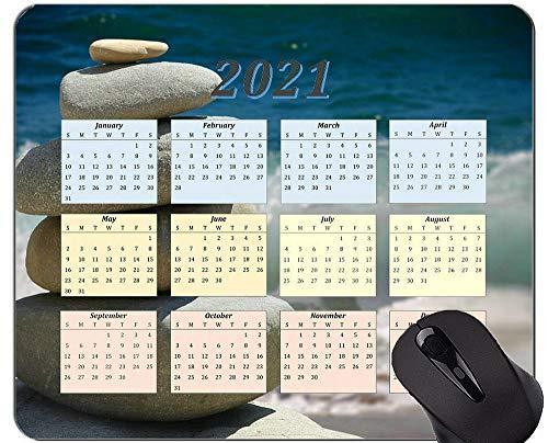 Yanteng Alfombrilla de ratón con Calendario 2021, Zen Stones Alfombrillas de ratón rectangulares Personalizadas para Juegos
