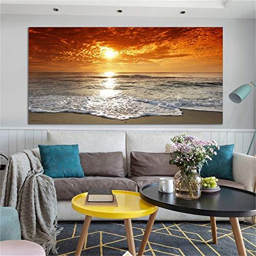 KWzEQ Moderne Seestück- und Landschaftsmalerei-Leinwandplakatplakatwandkunstbildhauptdekoration50X100cmRahmenlose Malerei