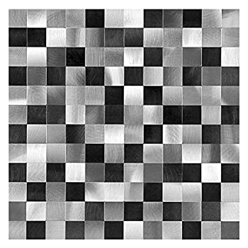 Decopus Peel and Stick Metal Mosaic Tile Backsplash  MS25 Black Silver Grey 5pc/Pack  for Kitchen Bathroom Table Tops Wall Accents 12  x 12  x0.16   Thick Self Adhesive Metal Mosaic Tile Stick On