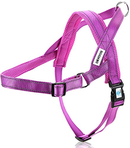DEXDOG #1 Best Dog Harness — EZHarness On/Off Walk in Seconds! [Purple X-Large XL] — Easy Quicker Step in Dog Harness Vest — Puppy No Pull Reflective Mesh Handle Adjustable Training