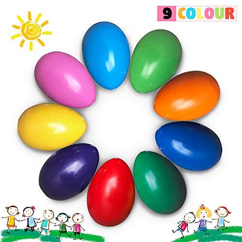 Richgv - Lápices de colores para niños, 9 colores no tóxicos y lavables, para aprender el dibujo y la pintura (forma de huevo)