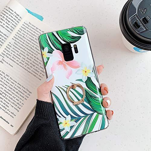 Herbests Kompatibel mit Samsung Galaxy S9 Handyhülle Case Blumen Blätter Muster TPU Silikon Hülle mit Ring Halter Ständer Schutzhülle Ultradünn Tasche Rückschale Stoßfest Case,Grün Blätter