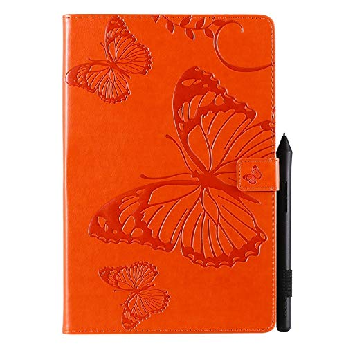 Wangqianli For Galaxy Tab S5e 10.5 Inch Model SM-T720/SM-T725 2019 Release (Auto Wake/Sleep) Butterfly Flower Pattern PU Leather Tablet Case (Color : Orange)