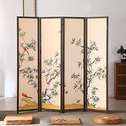 CGBF-4 Panel Folding Screen Room Divider with Flower and Bird...