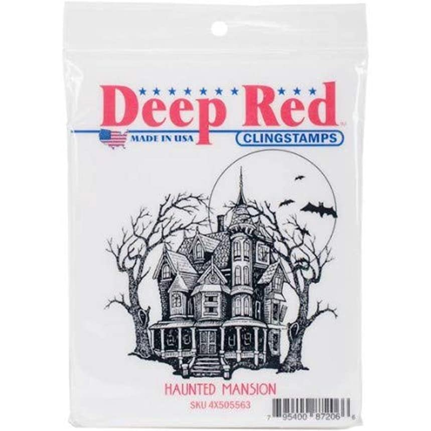 Deep Red Haunted Mansion Rubber Cling Stamp
