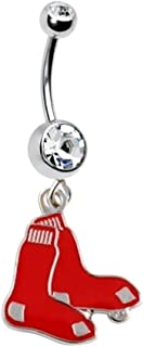 BOSTON RED SOX BASEBALL TEAM Navel Belly Button Ring Body Jewelry Piercing 14 Gauge