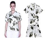 Camisas a Juego con la Madre del Hijo de Hawaiian Luau Outfit en Palm Verde en Blanco Mujer 2XL...