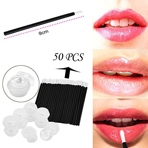 Mise en bouteille de 10 têtes de champignon + 50 pinceau à lèvres en fibre jetable blanc,Contenants de cosmétiques en plastique transparent vides echo4745