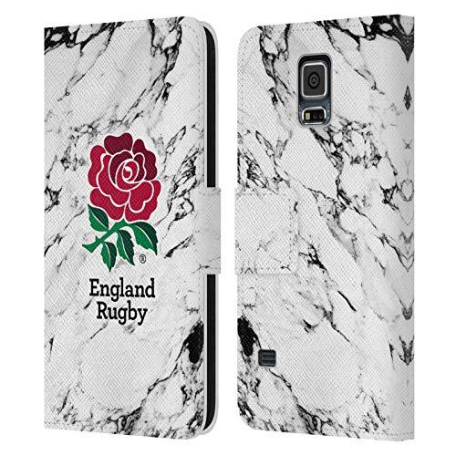 Head Case Designs Official England Rugby Union Blanco Mármol Carcasa de Cuero Tipo Libro Compatible con Samsung Galaxy S5 / S5 Neo