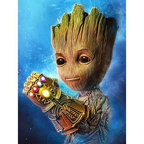 SHANFAA DIY 5D Diamant Painting Kits für Kinder & Erwachsene, The Groot Theme Diamond Painting Vollbohrer Kristall Strass Malen nach Zahlen Kits, Kinder, 30 * 40 cm