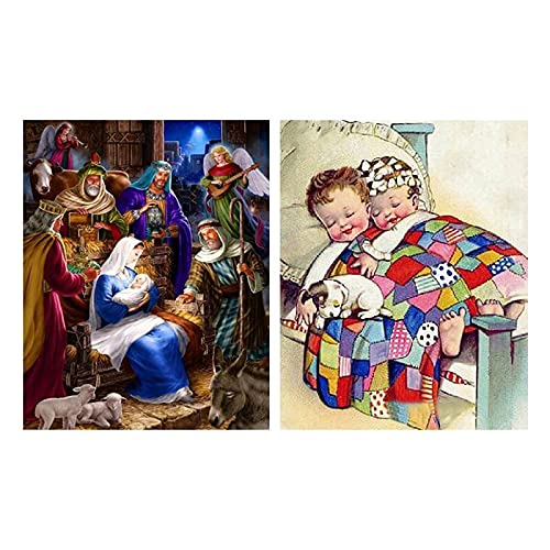 ZJN-JN Religion JESÚS 5D DIY Pintura de Diamante Completo Niño Puppy Diamond Mosaic Diamond Square & Jesus Christ Nacimiento Diamante de Navidad Patrón