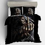 Funda de edredón de calavera barroca de Halloween, colorido cráneo gótico juego de ropa de cama con fundas de almohada a juego, para niños adultos, cama doble king size (220 x 240)