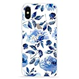 LCHULLE Floral Case for iPhone X iPhone Xs Case Fashion Cute Light Blue Flower & Leaf Design Transparent Clear Case for Girls Women Soft & Flexible TPU Bumper Protective Case Cover for iPhone X/Xs