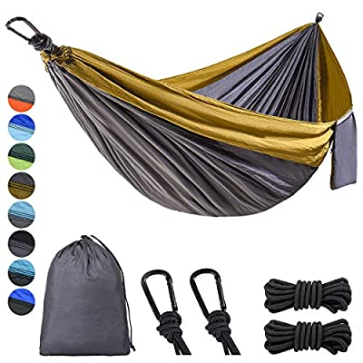Lifeleads Outdoor Camping Hammock-Nylon Double Portable Parachute Lightweight for Outdoor or Indoor Backpacking Travel Hiking (Charcoal & Camel, Double)