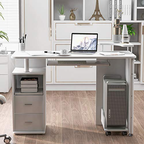 Merax Computer Desk with Drawers, Home Office Desk, Computer Workstation with Pull-Out Keyboard Tray and Storage,White