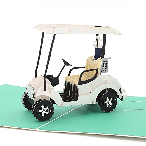 Liif Golf Cart Greeting Pop Up Card for All Occasions, Retirement, Happy Birthday Card, Fathers Day Card, Golf Gifts for Men, Women, Novelty Gifts, Unique Gifts for Golfer Fans Coworker