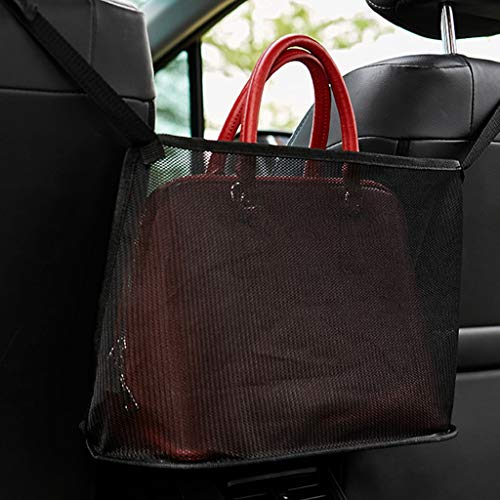Car Net Pocket Handbag Holder Seat Back Organizer Mesh Large Capacity Bag for Purse Storage Phone Documents Pocket,Barrier of Backseat Pet Kids,Cargo Tissue Holder (Standard, Black)