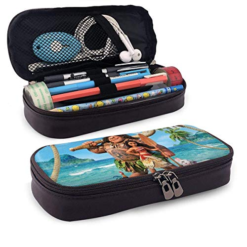 Cartoon Moana Leather Pencil Case for Adults Girls Boys School Office Pen Case Pouch Holder Stationery Cosmetic Makeup Double Zipper Bag PCS-1248
