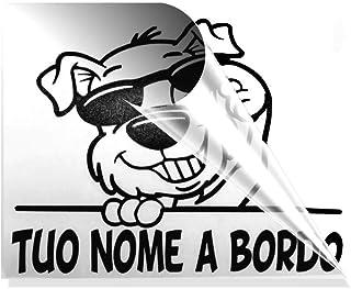 CANE A BORDO. ADESIVO PER AUTO CON IL NOME DEL CANE. Sticker senza sfondo