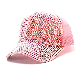 Pink Rhinestone Mesh Breathable Adjustable Sun Hat