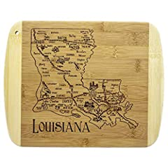 Savor a slice of The Pelican State with this beautiful bamboo serving and cutting board with artwork inspired by the cities, places and people of Louisiana. Fun, whimsical laser-engraved artwork calls out all the wonderful sights and places in the st...