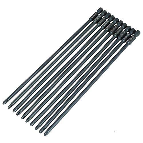 Punta de destornillador - Juego de puntas de destornillador PH2 de cabeza cruzada de acero S2 de 10 piezas, vástago hexagonal de 1/4 pulgadas, 200 mm