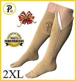 NEW Open Toe Knee Length Zipper Up Compression Hosiery Calf Leg Support Stocking (2XL, Beige)