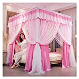 Bed Canopy Four Corner Luxury Bed Canopy Curtains, Double Bedspread 360° Protection is Used for Girl Princess Room Bedding, Easy Installation with Frame (Color : Pink1, Size : 180x200x200cm)